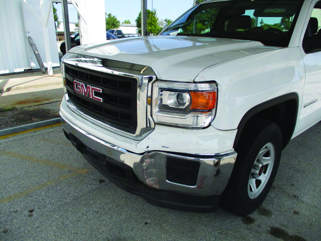 Front-Bumper-Headlight-Chrome-and-Paint-Repair-on-GMC-Truck-Affordable-Collision-Repairs-Auto-Body-Shop-In-Columbia-MO-Perry-Legend-Before